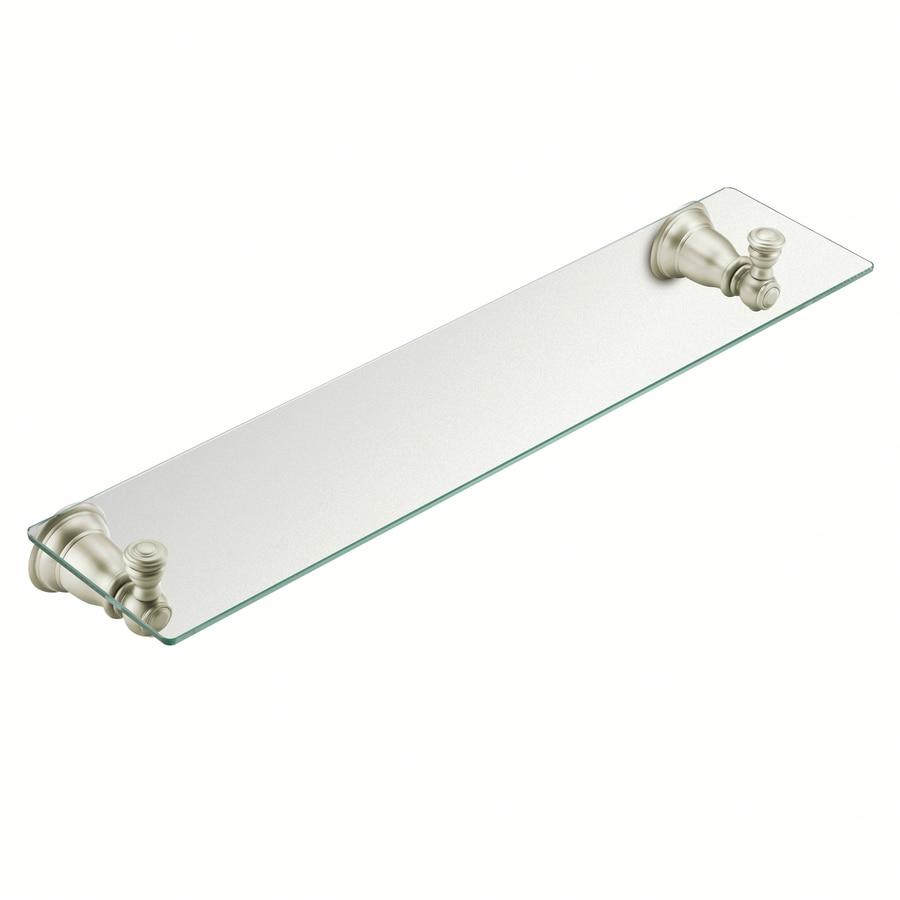 Moen Kingsley Brushed Nickel 1 Tier Glass Wall Mount Bathroom Shelf In The Shelves Department At Lowes Com