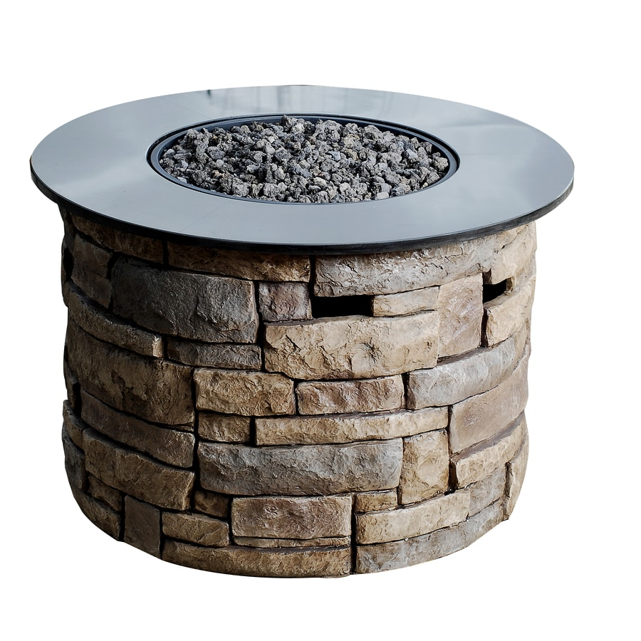 allen + roth Canyon Ridge 36.61-in W 30,000-BTU Stone Design/Black Marble Top Composite Propane Gas Fire Table