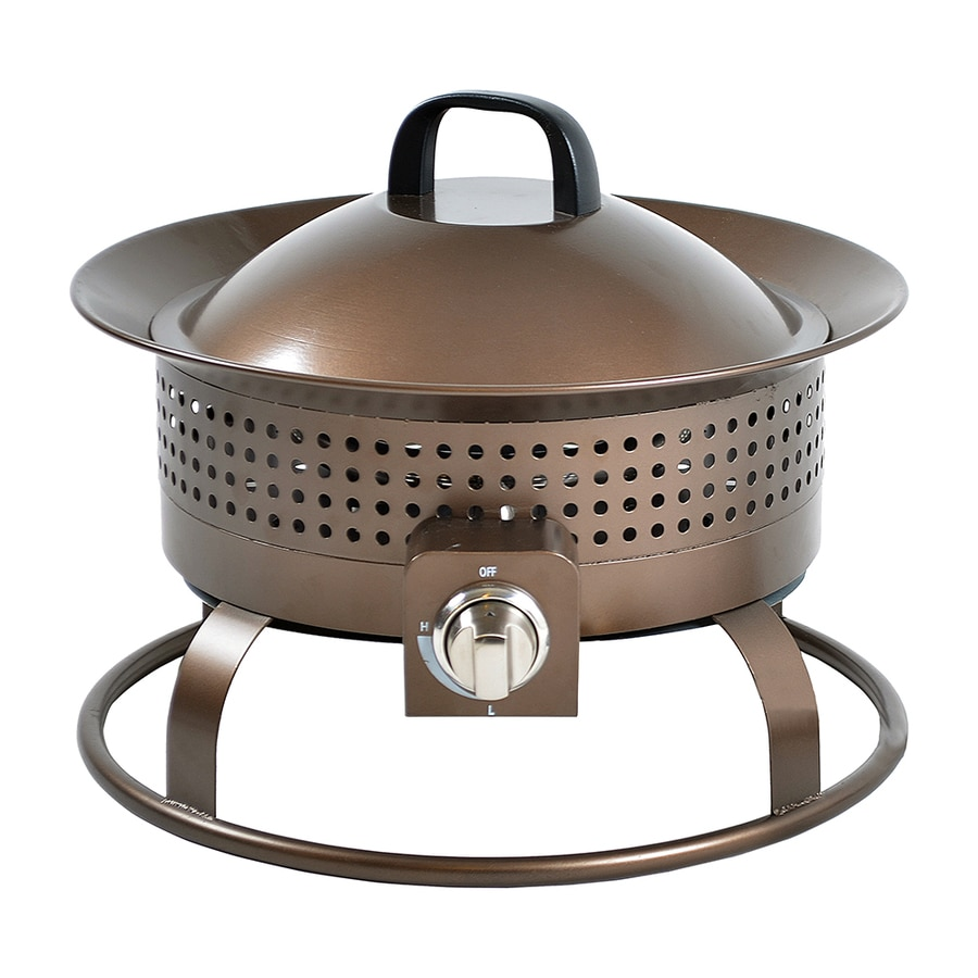 Garden Treasures 18.5-in W 54,000-BTU Bronze Portable Steel Propane Gas Fire Pit