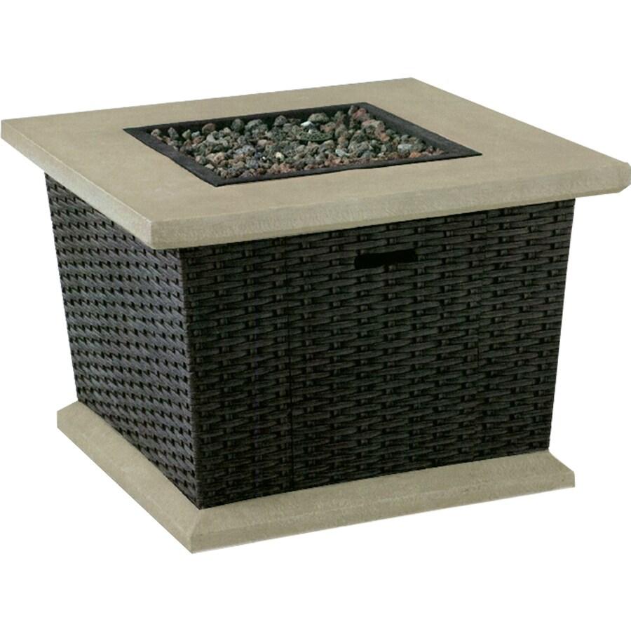 allen + roth Somersville 34.5-in W 50,000-BTU Brown Wicker Design Composite Propane Gas Fire Table