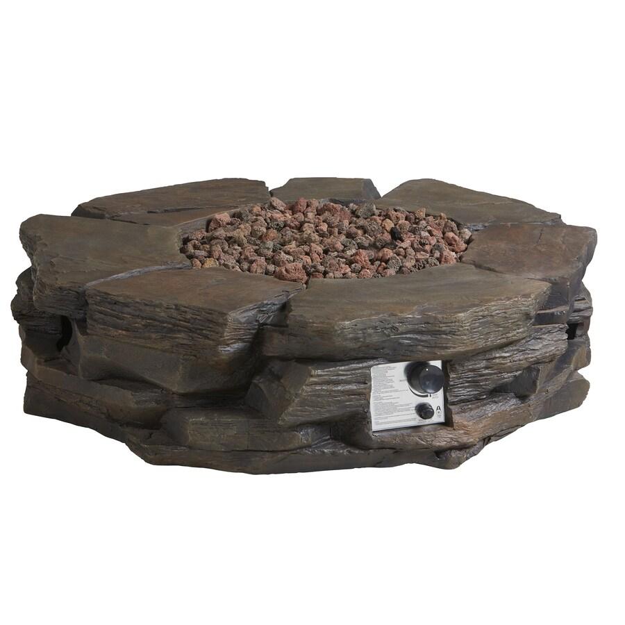 Garden Treasures 42-in W 50,000-BTU Brown Composite Propane Gas Fire Pit