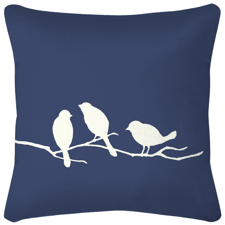 3 Birds Navy Blue Floral UV-Protected Outdoor Decorative Pillow