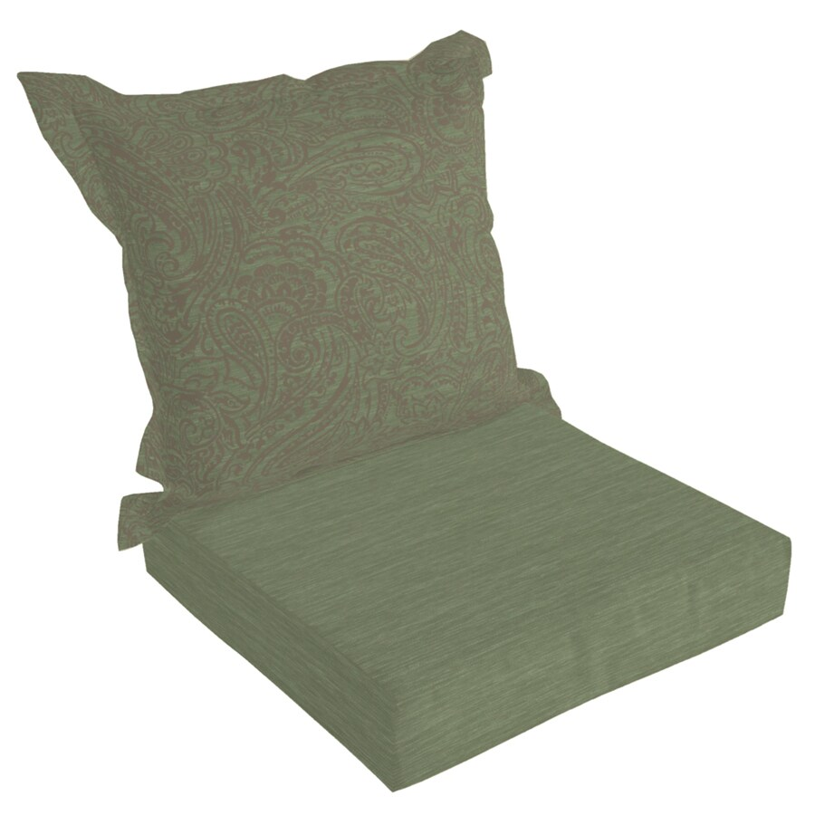 allen + roth 45-in L x 24-in W Green Texture Patio Chair Cushion