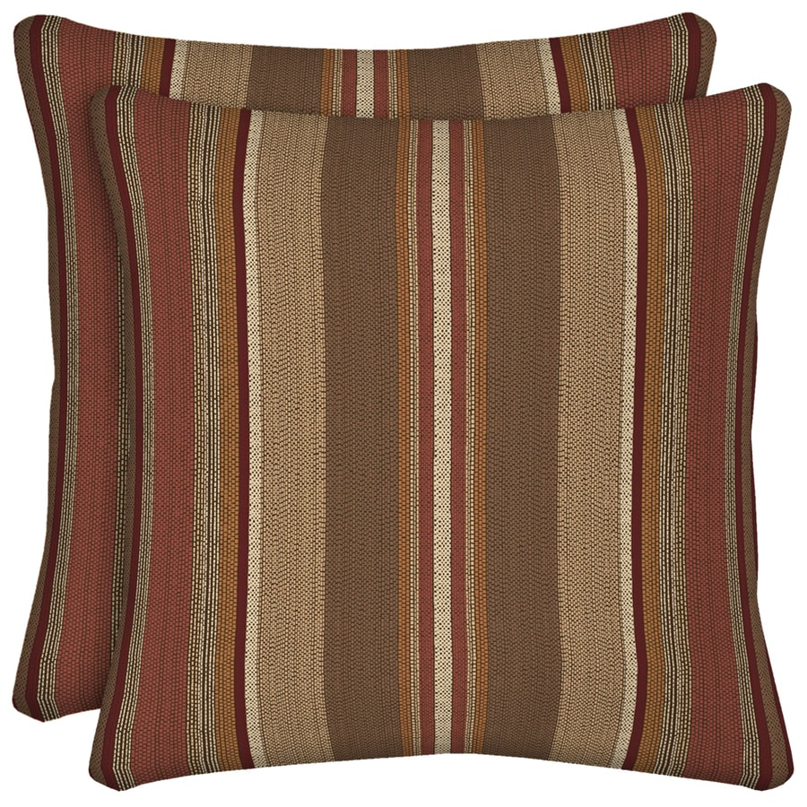 Arden Outdoor Set Of 2 Stripe Chili UV-Protected Square Outdoor Decorative Throw Pillows