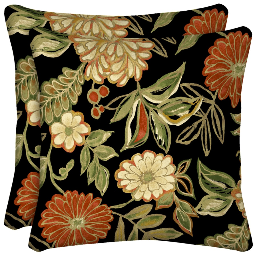 Arden Outdoor Set Of 2 Floral Black UV-Protected Square Outdoor Decorative Throw Pillows