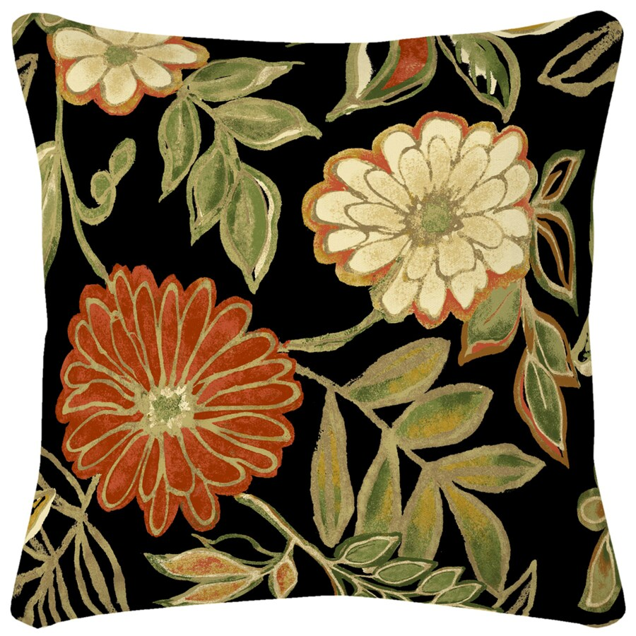 Floral Black UV-Protected Square Outdoor Decorative Pillow