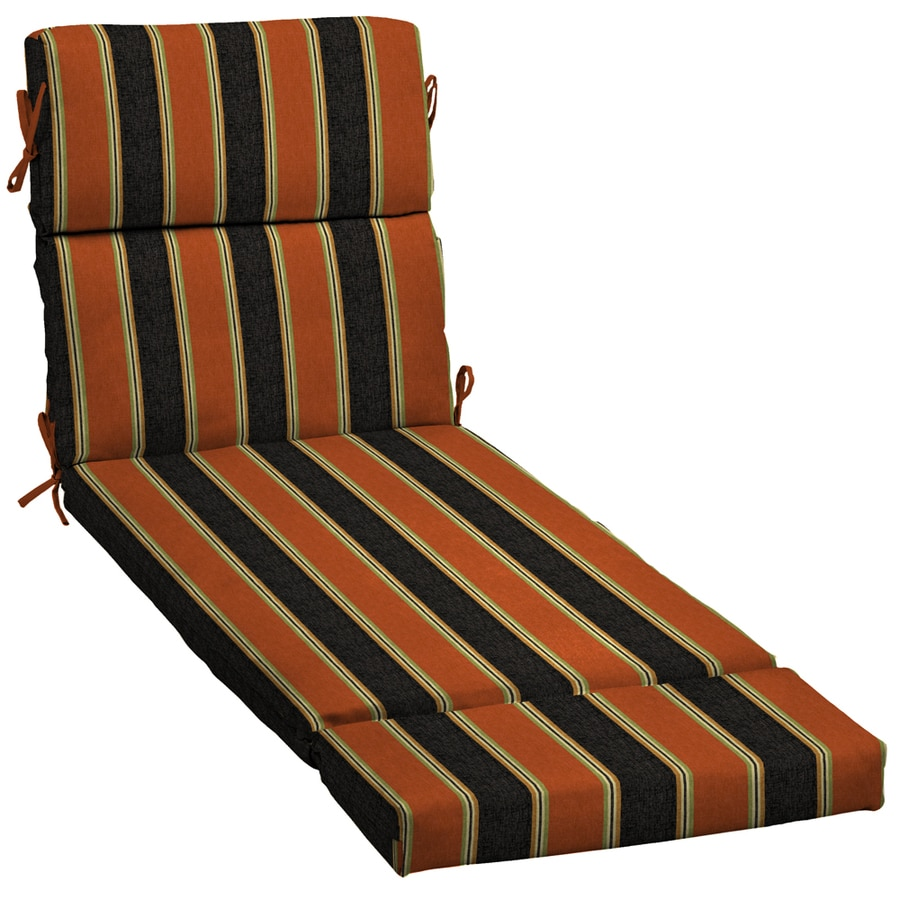 Shop 73 in l x 23 in w floral stripe black patio chaise for Black and white striped chaise lounge cushions