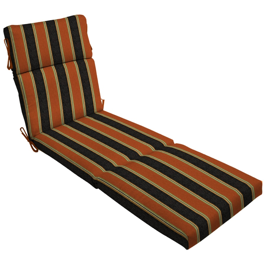 Shop 79 in l x 23 in w floral stripe black patio chaise for Black chaise lounge cushions