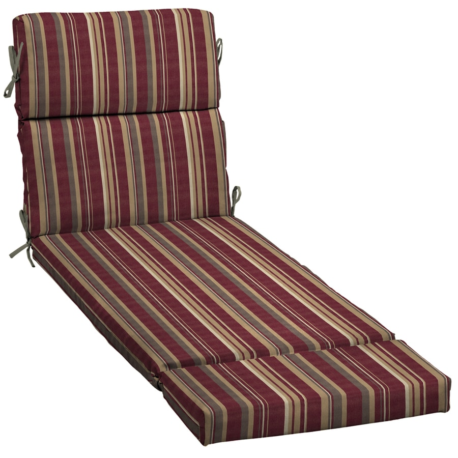 Shop 73 in l x 23 in w stripe cabernet red patio chaise for 23 w outdoor cushion for chaise