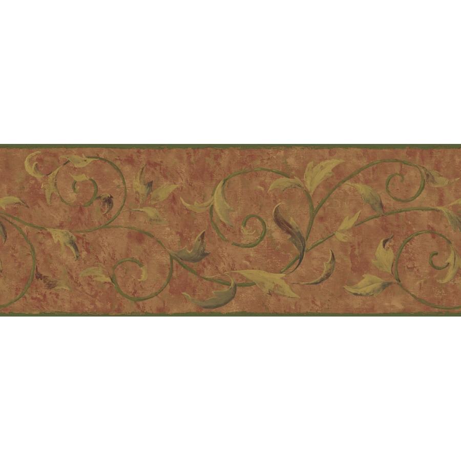 Shop york wallcoverings 9 vine scroll prepasted wallpaper for Prepasted wallpaper