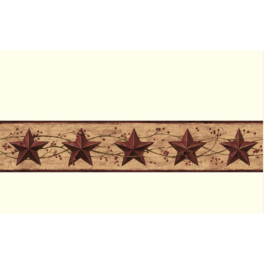 Shop york wallcoverings 4 in khaki burgundy prepasted for Prepasted wallpaper