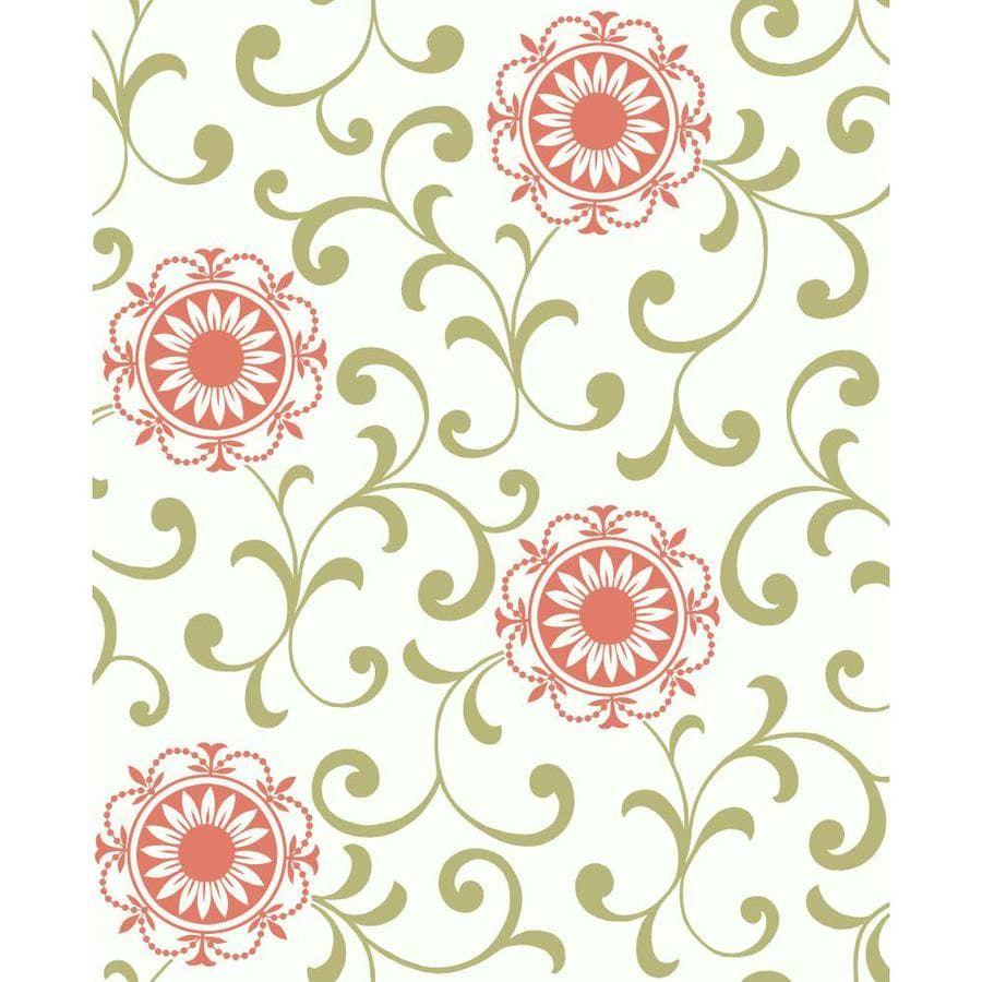 Inspired By Color Green and White Peelable Paper Unpasted Classic Wallpaper