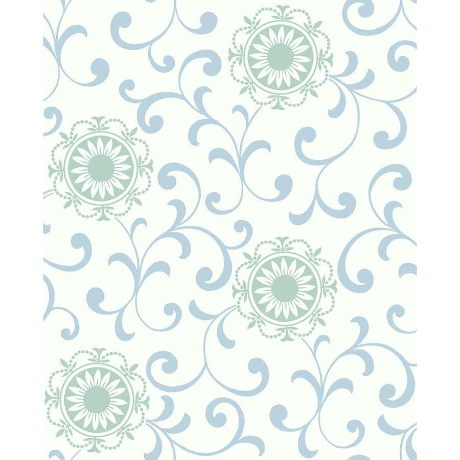 Inspired By Color Blue, Teal, and White Strippable Paper Unpasted Classic Wallpaper