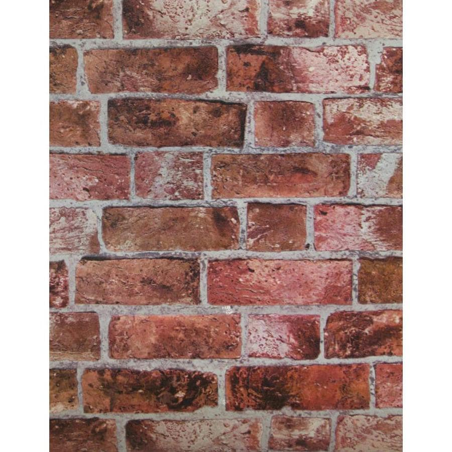 York Wallcoverings Brick, Red, Cement Gray, Burgundy, and Stone Strippable Vinyl Unpasted Textured Wallpaper