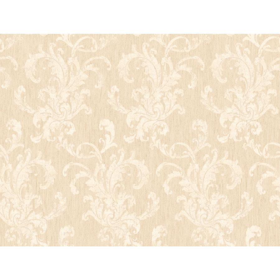 York Wallcoverings Almond and Silver Peelable Paper Prepasted Classic Wallpaper