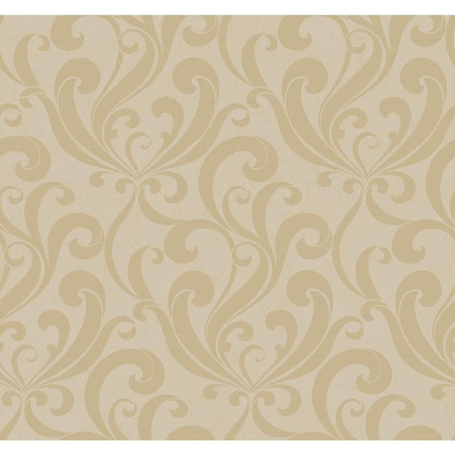 York Wallcoverings Silver and Beige Peelable Paper Prepasted Classic Wallpaper