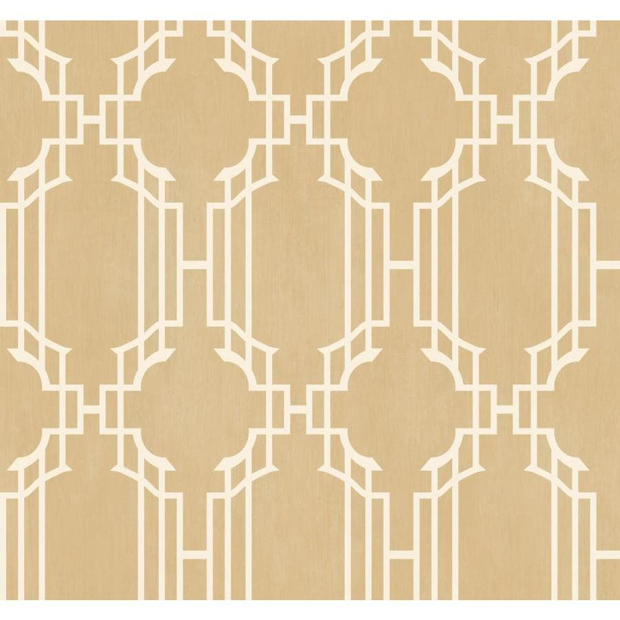 Inspired By Color Tan and White Peelable Paper Prepasted Classic Wallpaper