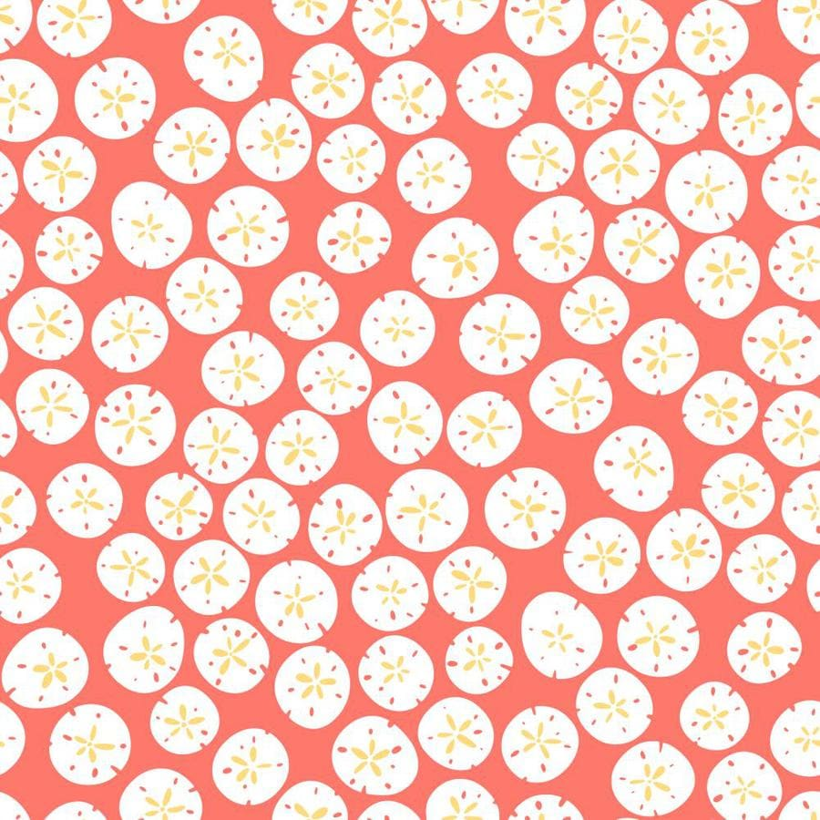 Inspired By Color Coral, Yellow, and White Peelable Paper Prepasted Classic Wallpaper