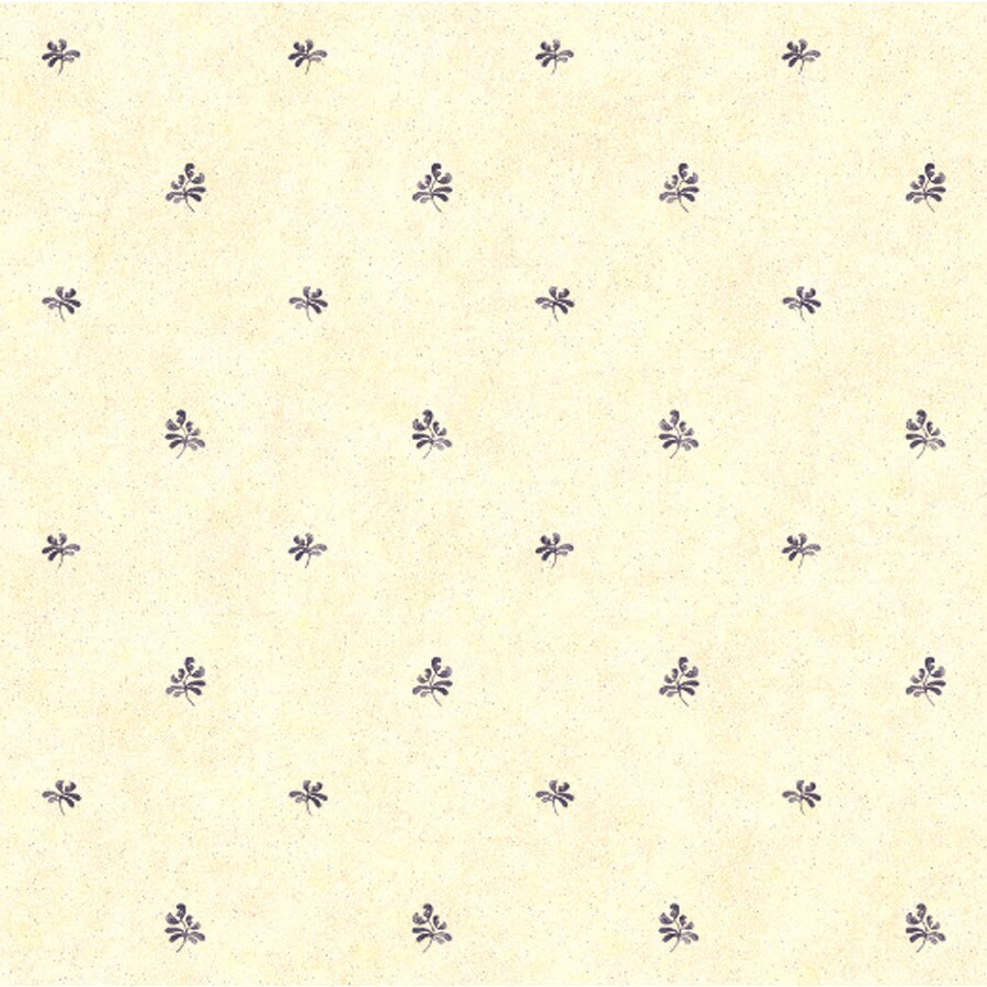 York Wallcoverings Cream and Blue Strippable Paper Prepasted Classic Wallpaper