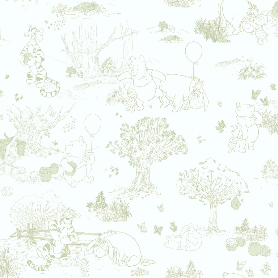 York Wallcoverings White and Green Strippable Paper Prepasted Classic Wallpaper