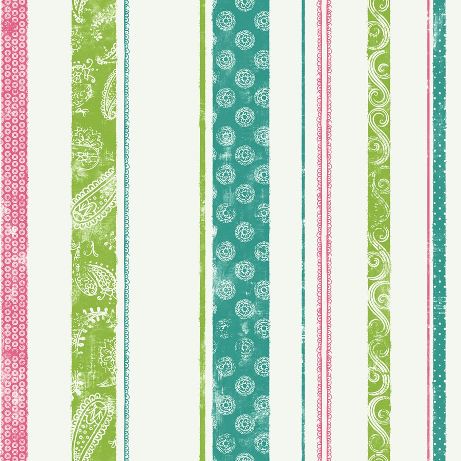 York Wallcoverings Teal and Pink and Lime Strippable Paper Prepasted Classic Wallpaper