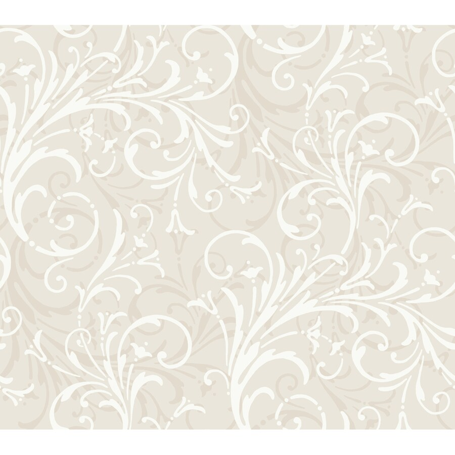 York Wallcoverings Oyster Gray and White Strippable Paper Prepasted Classic Wallpaper