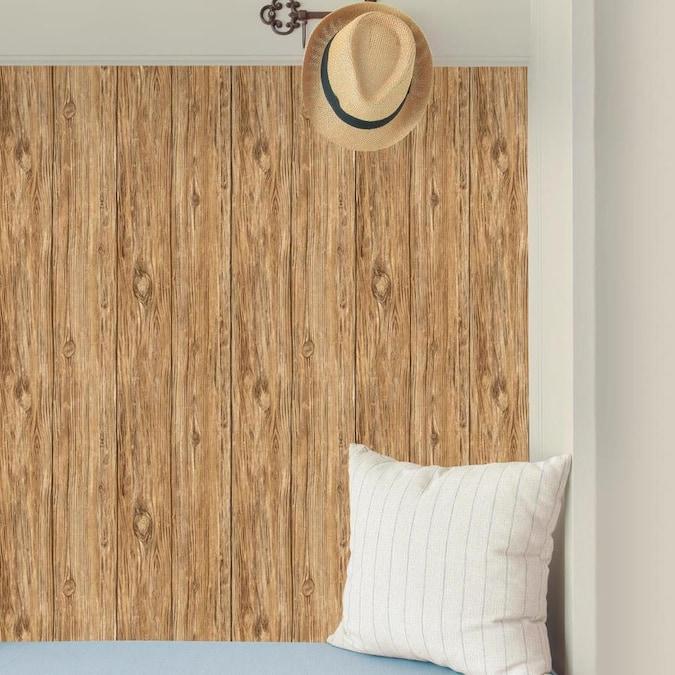 RoomMates 28.2-sq ft Brown Vinyl Wood Self-Adhesive Peel ...