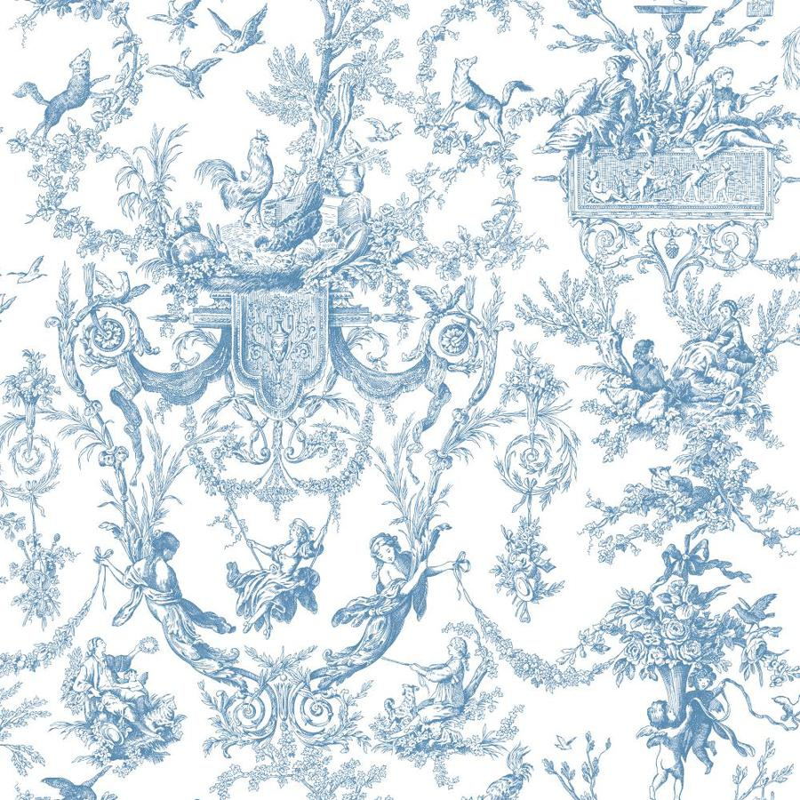 Inspired By Color Blue and White Peelable Paper Prepasted Classic Wallpaper