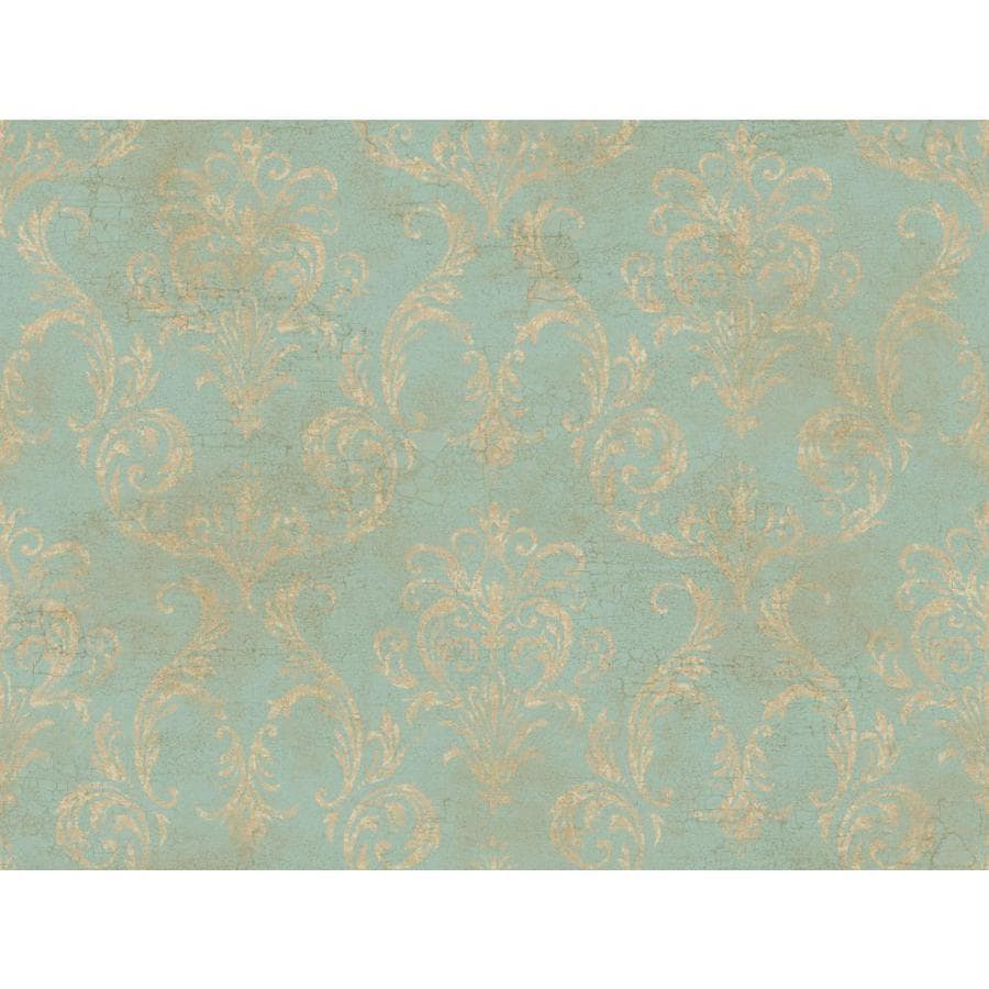 Inspired By Color Blue and Tan Peelable Paper Prepasted Classic Wallpaper