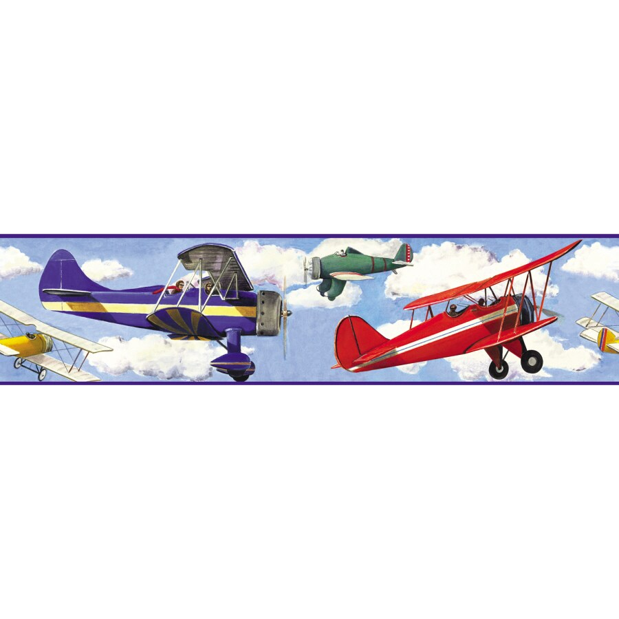 Roommates Vintage Planes Peel And Stick Wallpaper Border In The Wall Murals Department At Lowes Com