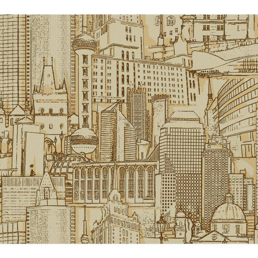 York Wallcoverings Brown and Gold Strippable Paper Prepasted Classic Wallpaper