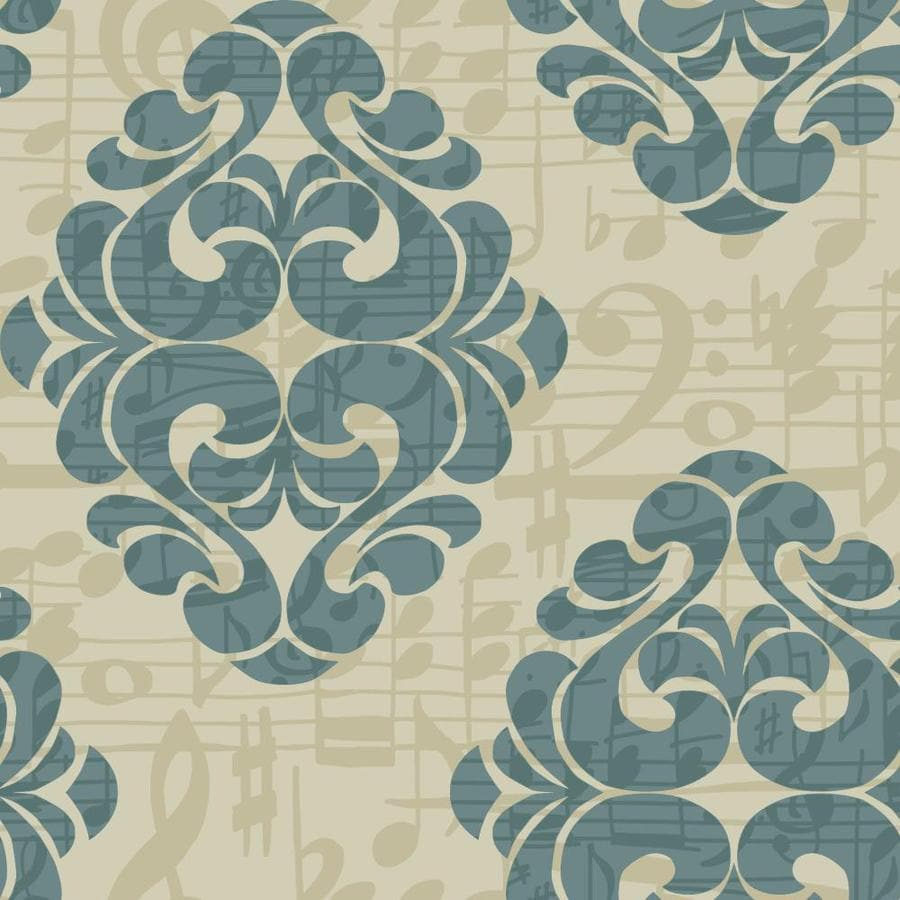 York Wallcoverings Teal Blue and Deep Taupe and Bronze Pearl Strippable Paper Prepasted Classic Wallpaper