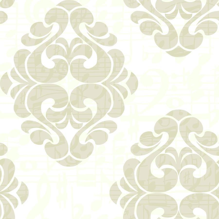York Wallcoverings Light Gray and Taupe Gray and Chalk White Strippable Paper Prepasted Classic Wallpaper
