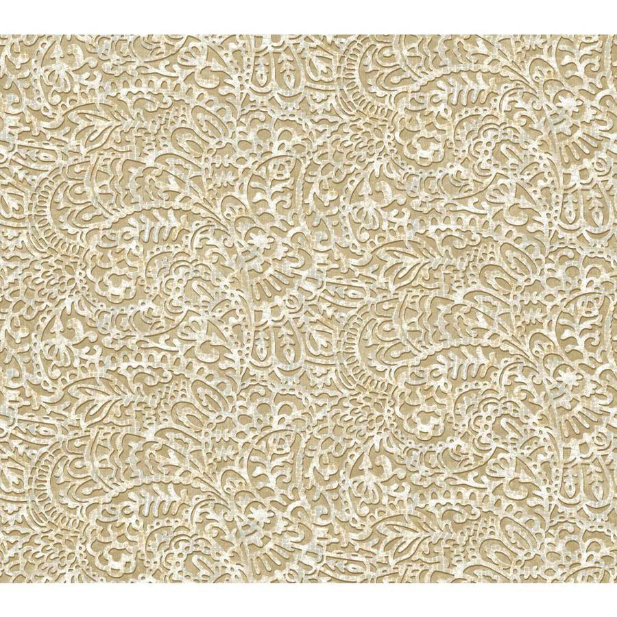 York Wallcoverings Ash Grey, White, and Putty Brown Strippable Paper Prepasted Classic Wallpaper