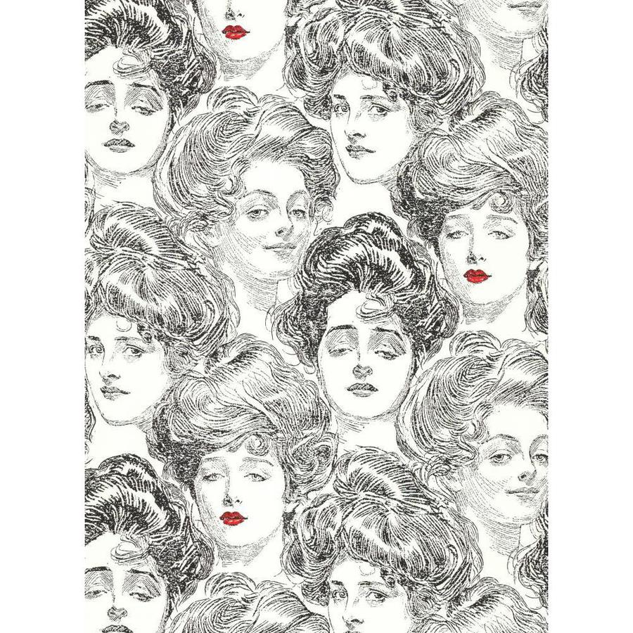 York Wallcoverings Red and Black and White Strippable Paper Prepasted Classic Wallpaper