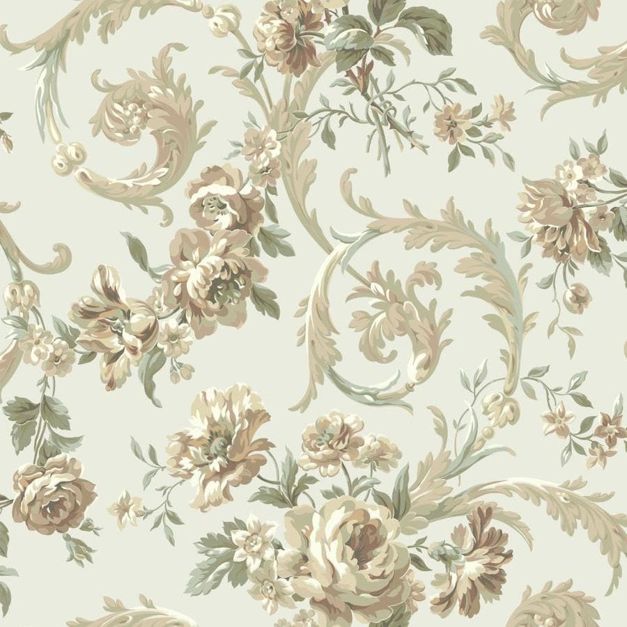 Inspired By Color Green, Brown and Ivory Peelable Paper Prepasted Classic Wallpaper