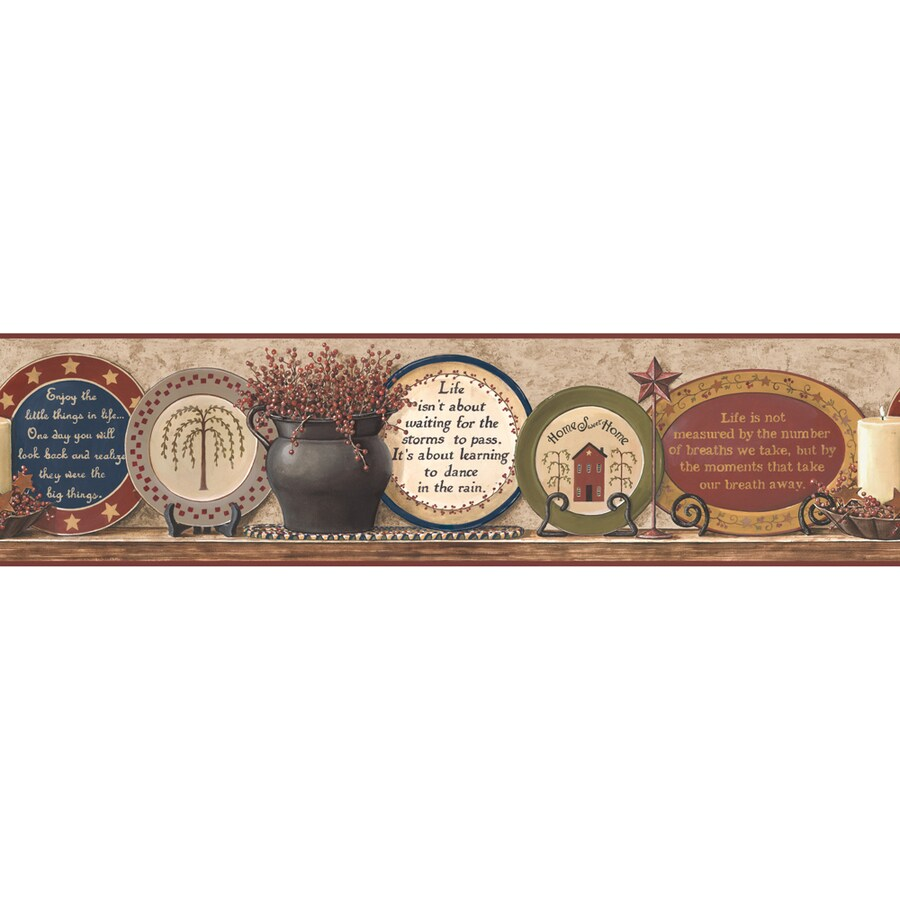 Inspired By Color 9-in Khaki/Burgundy Prepasted Wallpaper Border