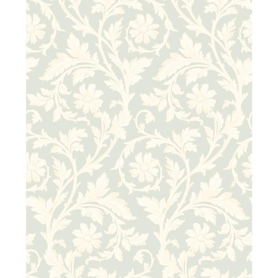 Inspired By Color Blue and Ivory Peelable Paper Prepasted Classic Wallpaper