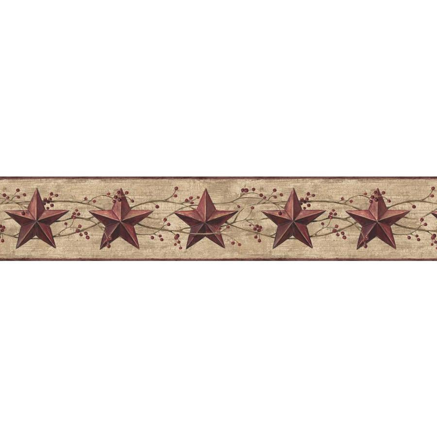 Inspired By Color 6.75-in Red/Tan Prepasted Wallpaper Border