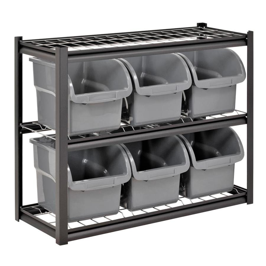 Go Home Black Industrial Kitchen Cart At Lowes Com: Shop Edsal 33-in H X 42-in W X 16-in D 3-Tier Steel