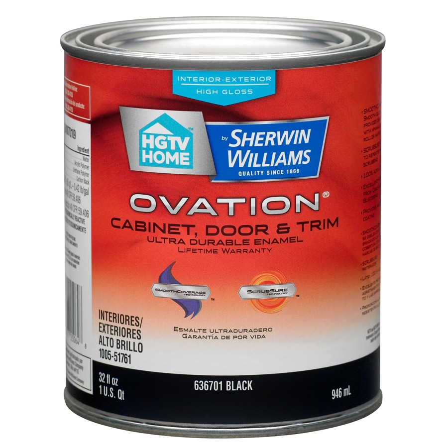 HGTV HOME by Sherwin-Williams Ovation Black High-Gloss Latex Interior/Exterior Paint and Primer in One (Actual Net Contents: 32-fl oz)