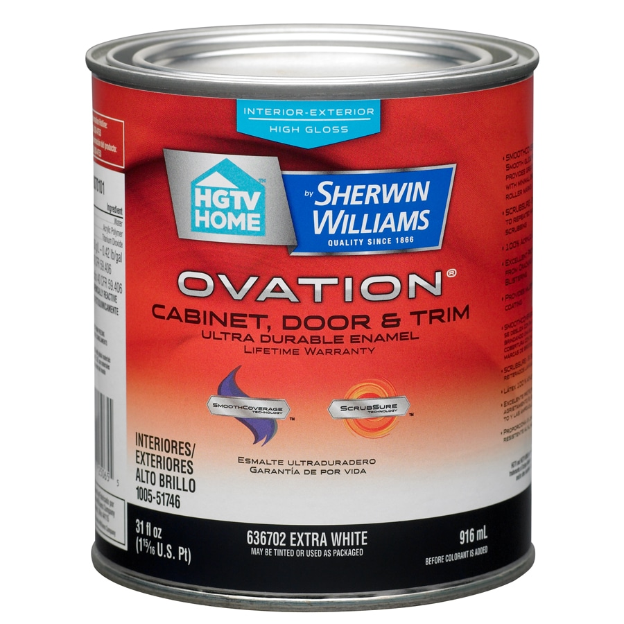 HGTV HOME by Sherwin-Williams Ovation White High-Gloss Latex Interior/Exterior Paint and Primer in One (Actual Net Contents: 31-fl oz)