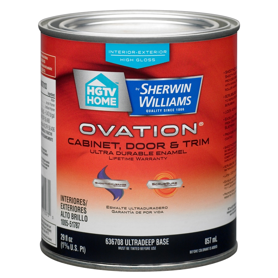 HGTV HOME by Sherwin-Williams Ovation Tintable High-Gloss Latex Interior/Exterior Paint and Primer in One (Actual Net Contents: 29-fl oz)