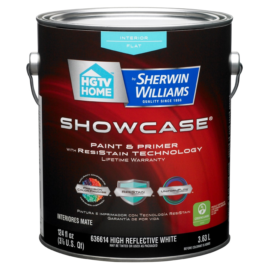 HGTV HOME by Sherwin-Williams Showcase White Flat Latex Interior Paint and Primer in One (Actual Net Contents: 124-fl oz)