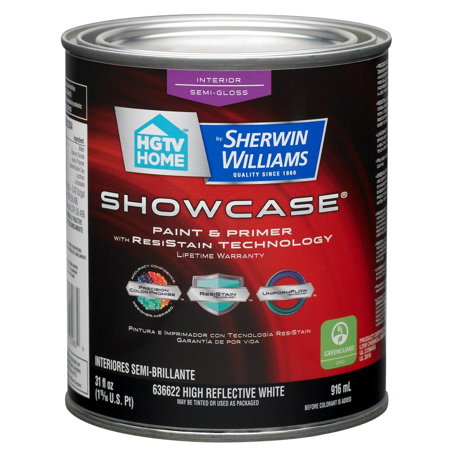 HGTV HOME by Sherwin-Williams Showcase White Semi-Gloss Latex Interior Paint and Primer in One (Actual Net Contents: 31-fl oz)