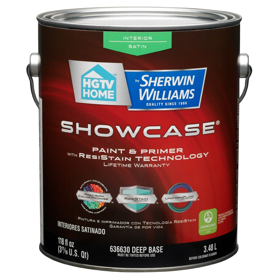 shop hgtv home by sherwin williams showcase tintable satin latex interior paint and primer in. Black Bedroom Furniture Sets. Home Design Ideas