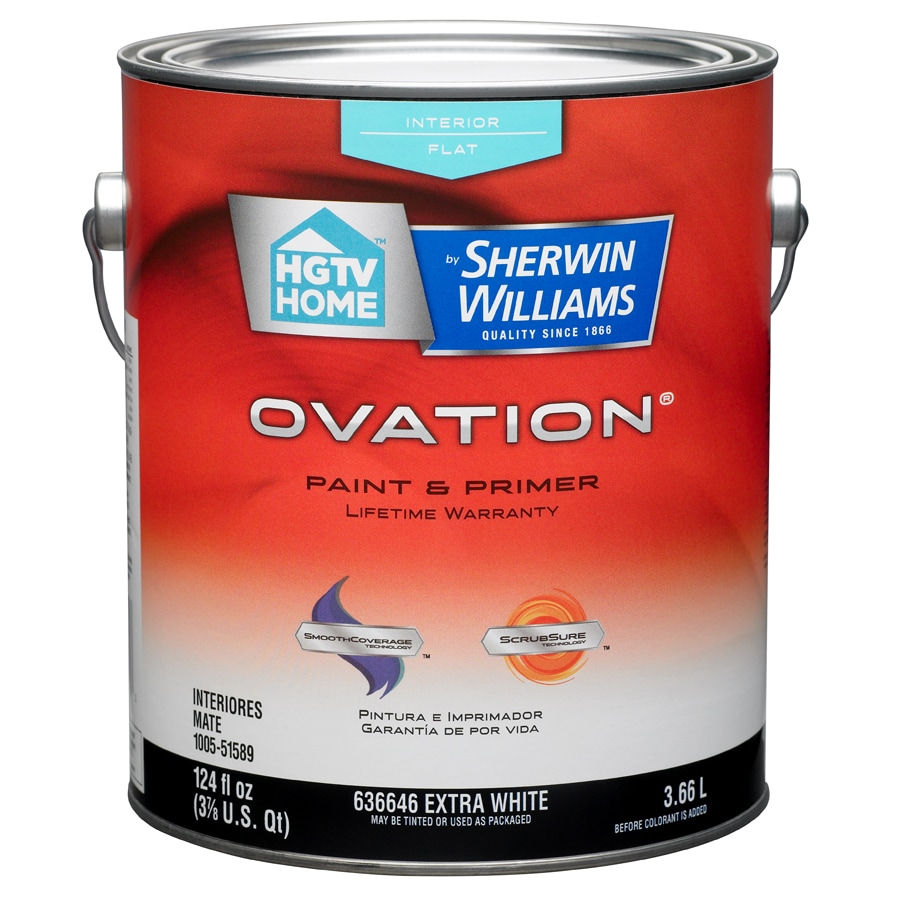 hgtv home by sherwin williams ovation white flat latex interior paint. Black Bedroom Furniture Sets. Home Design Ideas
