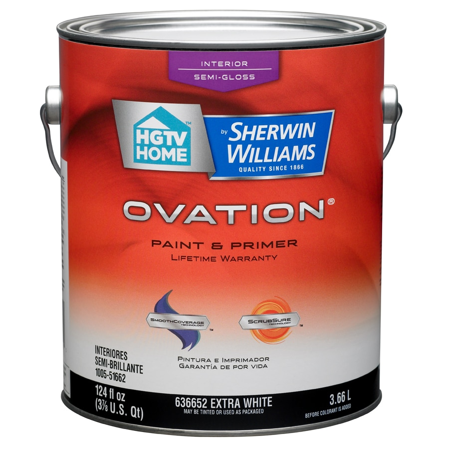 Shop Hgtv Home By Sherwin Williams Ovation White Semi Gloss Latex Interior Paint And Primer In