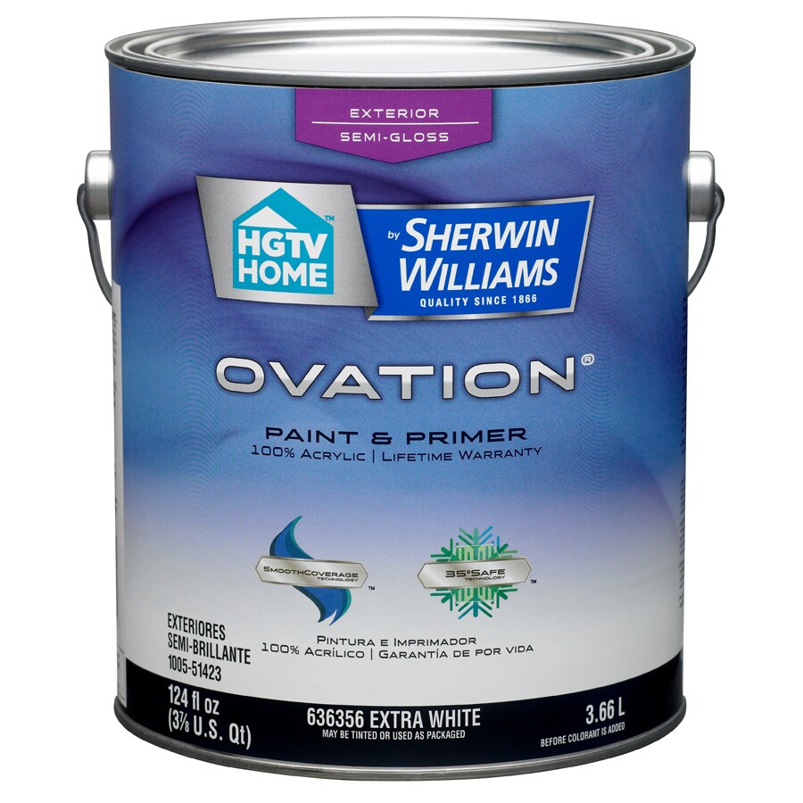 HGTV HOME by Sherwin-Williams Ovation Tintable Semi-Gloss Latex Exterior Paint (Actual Net Contents: 124-fl oz)