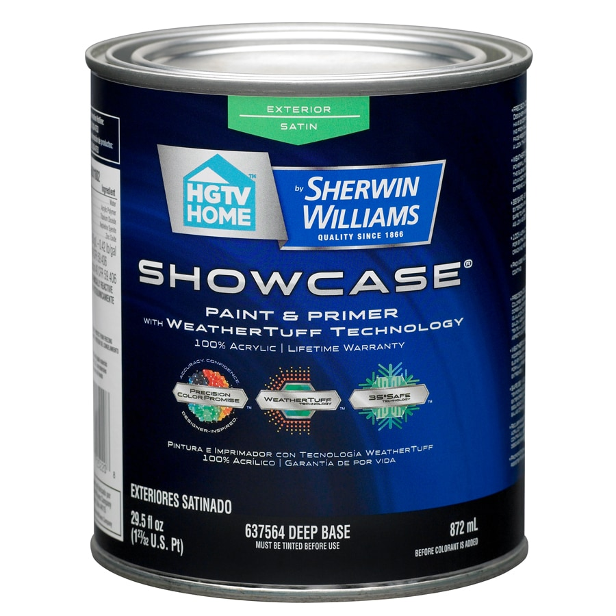 Shop hgtv home by sherwin williams showcase tintable satin for Exterior paint satin 5 gal